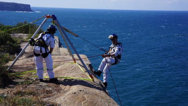 Police Search and Rescue Squad undertaking the rescue re enactment at Dunbar site South Head
